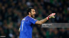 Goalkeeper Gianluigi Buffon of Juventus gestures during the UEFA Champions League Group D match between VfL Borussia Monchengladbach and Juventus Turin at Borussia Park on November 3, 2015 in Moenchengladbach, Germany.