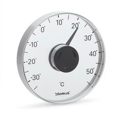#blomus Grado Indoor temperature guide   Always know the temperature outside with the indoor celsius thermometer with adhesive window mount. This self adhesive thermometer attaches on the outside of the window and the scale faces inside.  Give your daily glance at the thermometer a double pleasure.  Our new thermometers for walls and windows combines design and function in a perfect way.  The temperature display of this elegant device guarantees an easy read.   4 3/8'' x 4 3/8'' x 7/8''.