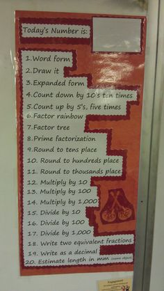 Daily Number Exercise---My Version.  I tried this out with the kids today, and made up a permanent poster.  I already love it!  Inspired by another pin: