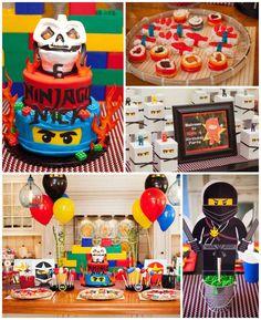 Ninjago themed birthday party with Lots of Really Fun Ideas via Kara's Party Ideas Kara's Party Ideas | Cake, decor, cupcakes, games and more! KarasPartyIdeas.com #ninjaparty #ninjagoparty #legoparty #legopartyideas #ninjago #boyparty #partyideas (2)