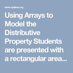 Using Arrays to Model the Distributive Property Students are presented with a rectangular area model . Multiplication Properties, Distributive Property, Students, Teaching, Math, Model, Math Resources, Scale Model
