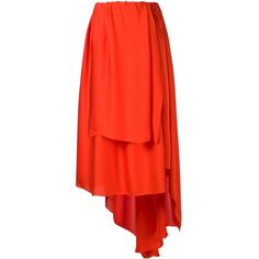Maison Rabih Kayrouz Asymmetric Draping Skirt ($760) ❤ liked on Polyvore featuring skirts, red, draped asymmetrical skirt, red knee length skirt, maison rabih kayrouz y red skirt