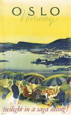 KNUT YRAN (1920-1998) OSLO / NORWAY / TWILIGHT IN A SAGA SETTING! 1965.