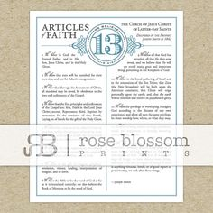 LDS The Thirteen Articles of Faith 8x10 Inch by RoseBlossomPrints