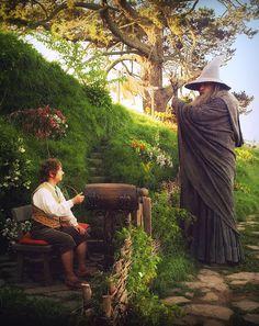 el hobbit y el mago. muy buenos amigos.