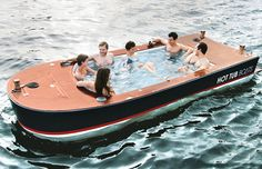 WHAT?! Hot Tub Boat. Go hot tubbin' out on the open seas. This electric boat can get heated up to 104 F, features 4 built-in ice chests, and pop up speakers. Too much?