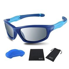 64d32b65b5 Duco Kids Sports Style Polarized Sunglasses Rubber Flexible Frame For Boys  And Girls Blue Frame Blue Temple Mirror Lens 55 -- Find out more about the  great ...