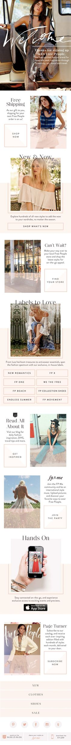 Free People Welcome Email Newsletter Design
