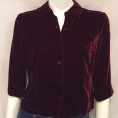 "Ann Taylor Velvet Jacket Ann Taylor Women's Maroon or Wine Velvet Blazer. Size 6. 82% Rayon and 18% Silk. Armpit to Armpit 18"", Length of Jacket 20"", Sleeve Length 15"". This velvet blazer is incredibly soft and has a luxurious feel. Ann Taylor Jackets & Coats Blazers"