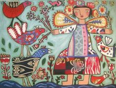 Rebecca  Cool - Bird Life By A Stream  mixed media on canvas    91 x 122 cm  36 x 48 in