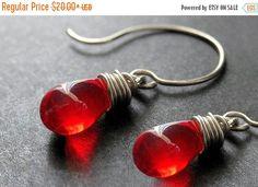 EASTER SALE STERLING Silver Wire Wrapped Earrings - Blood Red Clear Teardrop Earrings. Handmade Jewelry. by TheTeardropShop from The Teardrop Shop. Find it now at http://ift.tt/2591Gsp!