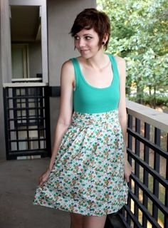 Sundress sewing pattern, using tank top as bodice
