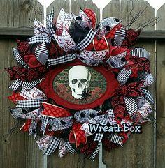 halloween mesh skeleton wreath deco mesh halloween wreath red and black whimsical halloween wreath front door - Deco Mesh Halloween Garland