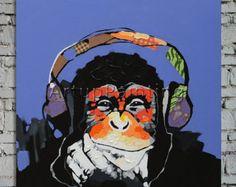 Pop Art Singe Art Gorilla Ecouter Musique peint à la main peinture à l'huile 24x32 pouces Accueil pétrole Décoration peinture mur peint Photos Wall Art 2
