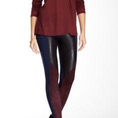 David Lerner leather leggings sz medium NWT Black blue and Merlot leather combo leggings David Lerner Pants Leggings