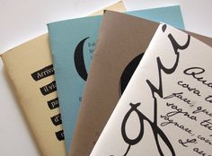 Taccuini e quaderni in carta riciclata, i 4 colori.
