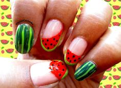 Watermelon nail design :) by StaceyNailCandy - Nail Art Gallery nailartgallery.nailsmag.com by Nails Magazine www.nailsmag.com #nailart