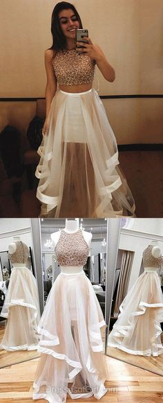 Two Piece Prom Dresses, A-line Scoop Neck Long Formal Evening Gowns, Tulle Beading Party Dresses