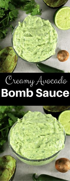 Creamy Avocado Sauce, perfect for entertaining and hosting this fall! Creamy Avocado Bomb Sauce is a dressing, sauce, dip all in one. The original Avocado Bomb Sauce recipe from here at Sim Avocado Dessert, Avacado Breakfast, Avocado Cheesecake, Healthy Snacks, Healthy Eating, Healthy Recipes, Vegetarian Recipes, Eating Fast, Bariatric Recipes