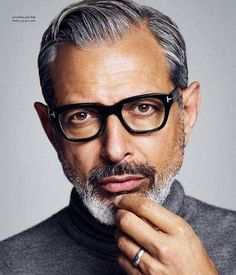 Recent photo of Jeff Goldblum. Wow that gray is hot!