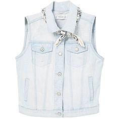 Bandana Denim Gilet (€35) ❤ liked on Polyvore featuring outerwear, vests, jackets, denim vests, gilet vest and denim waistcoat