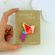 Geometric Brooch Neon 'Origami Bird' by SketchInc on Etsy, £7.20