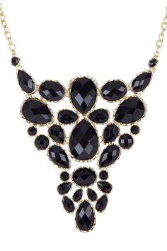 Gold & Black Bezeled Stone Decorative Statement Bib Necklace
