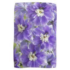 Purple Larkspur Floral Kitchen Towel - purple floral style gifts flower flowers diy customize unique