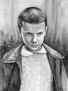 Stranger Things Eleven Portrait Black and White Version by OlechkaDesign | Etsy