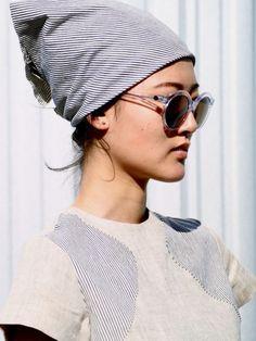 striped head scarf & round sunglasses #style #fashion #summer #accessories