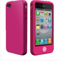 Fuchsia Hot Pink Soft Silicone Case Cover For Apple iPhone 4S/4G