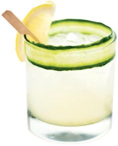 Try a low-calorie Lyte Ray: lemon, cucumbers, light vodka, St. Germain, and club soda