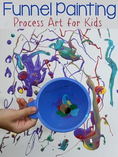 Funnel Painting Process Art For Kids Still Playing School - We Are Dedicated In Planning Activities For Our Kids But Ill Even Admit That We Dont Do Open Ended Process Art Projects As Much As Wed Should This Invitation To Paint With Funnels W Jackson Pollock, Projects For Kids, Crafts For Kids, Children Art Projects, Sensory Art, Sensory Table, Messy Art, Messy Play, Ecole Art