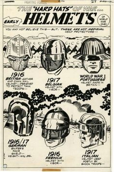 "Helmets by Jack Kirby"" Comic Book Pages, Comic Book Artists, Comic Artist, Comic Books Art, War Comics, Marvel Comics, Jack King, Jack Kirby Art, Silver Age Comics"