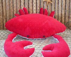 Crab pillow red crab pillow nautical decor by Fleeceofnature Nautical Baby Nursery, Nautical Bedding, Mermaid Nursery, Nautical Cushions, Decorative Cushions, Kids Pillows, Animal Pillows, Realistic Stuffed Animals, Plush Animals