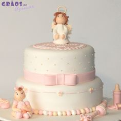 Bebé e Anjo | Recortado | bolo anjinho | Grãos de Açúcar - Bolos decorados - Cake Design