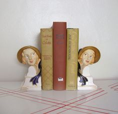 // Flapper Bookends / 1920s 1930s Figural by GuermantesVintage //