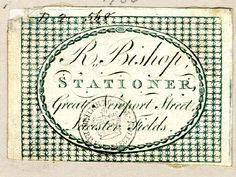 DRAFT Trade card of R Bishop, stationer
