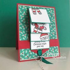 Learn How to Make this Fun Fold - Cookie Cutter Christmas Waterfall Card! Kristin shows you how and has a free tutorial for you.