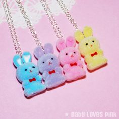 Easter Bunny Necklace  Set of 4 BFF Necklace by BabyLovesPink, $49.95 god these are perf