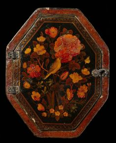 Lacquer mirror featuring roses and a nightingale.  18th C from Iran.