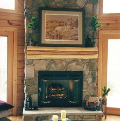 Natural Gas Corner Fireplace for 2020 Rustic Fireplace Mantle, Wood Mantels, Rustic Fireplaces, Fireplace Design, Fireplace Ideas, Gas Fireplaces, Mantle Ideas, Mantles, Inside A House