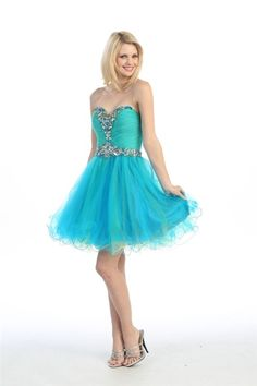 Look like a ballerina in this adorable short puffy dress with a beautiful, beaded top and a fun layered tulle skirt. Strapless Homecoming Dresses, Grad Dresses, 15 Dresses, Pretty Dresses, Strapless Dress Formal, Beautiful Dresses, Fashion Dresses, Formal Dresses, Puffy Dresses
