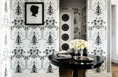 Black and white and dusty blue wallpaper