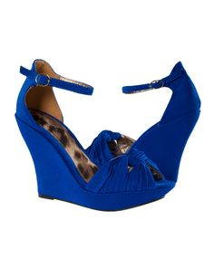 Blue Satin Knot Ankle Wedge < Sexy Shoes