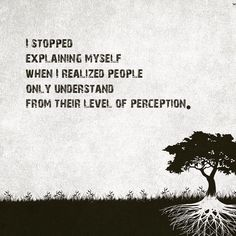 i stopped explaining myself when i realized people only understand from their level of perception. - Google Search