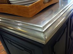 """Molded Stainless"" Countertop...sure looks like pewter to me  *from Urban Grace"
