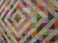 Another half square triangle quilt....easier to see the triangles with this quilt.