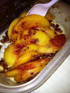 1 c. frozen peaches, cinnamon, and nuts - microwave.  After the cleanse phase, add vanilla frozen yogurt!
