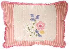 Small oblong pillow using antique embroidered linens...